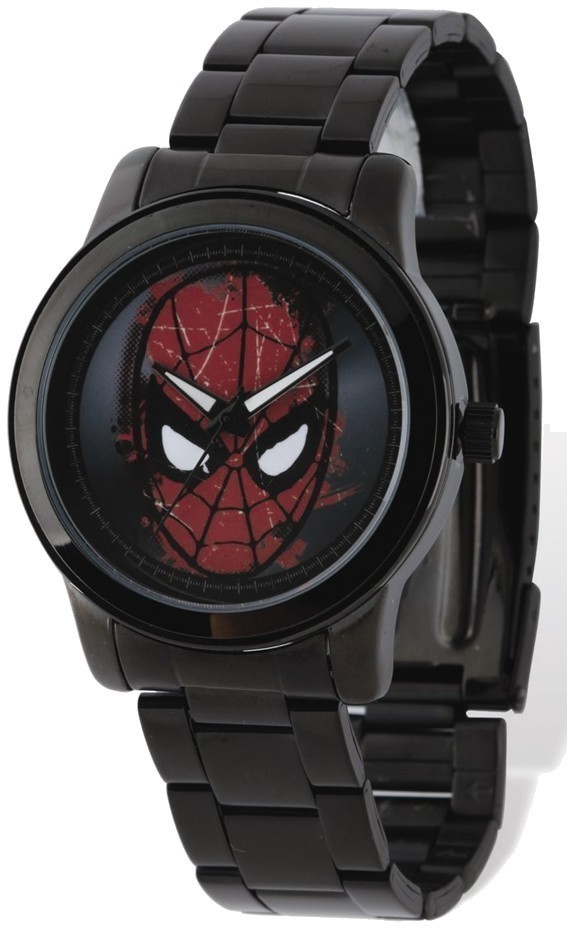 Marvel Adult Size Black-plated Spiderman Face Watch
