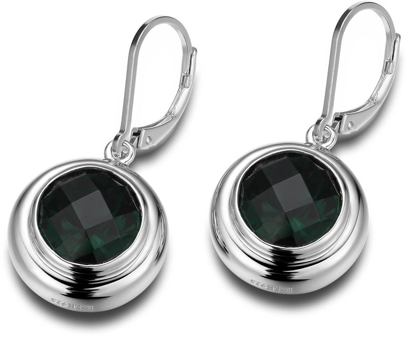 ELLE Jewelry - GALAXY Sterling Silver Created Green Quartz Lever Back Earrings
