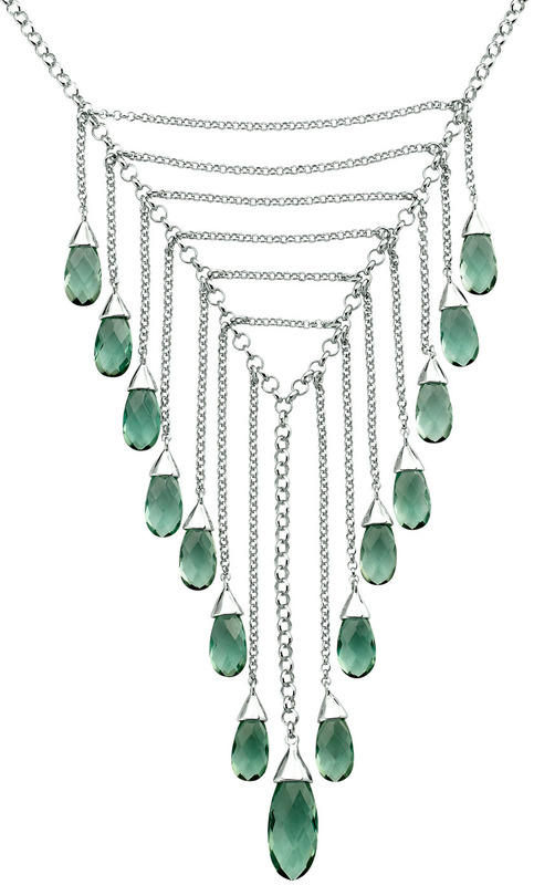 ELLE Jewelry - ETHEREAL Sterling Silver 16 in. + 2.5 in. Created Green Quartz Necklace
