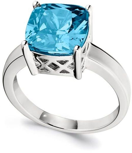 ELLE Jewelry - ESSENTIALS Sterling Silver Cushion Cut Blue CZ Ring (R0185)