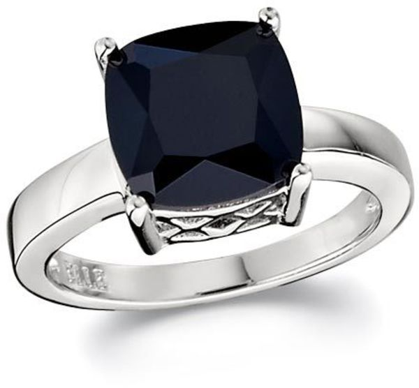 ELLE Jewelry - ESSENTIALS Sterling Silver Cushion Cut Black CZ Ring
