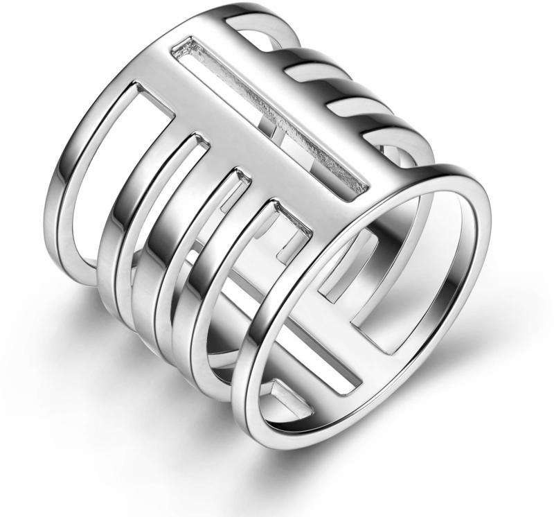ELLE Jewelry - Wide Geometric Stackable Ring Sterling Silver