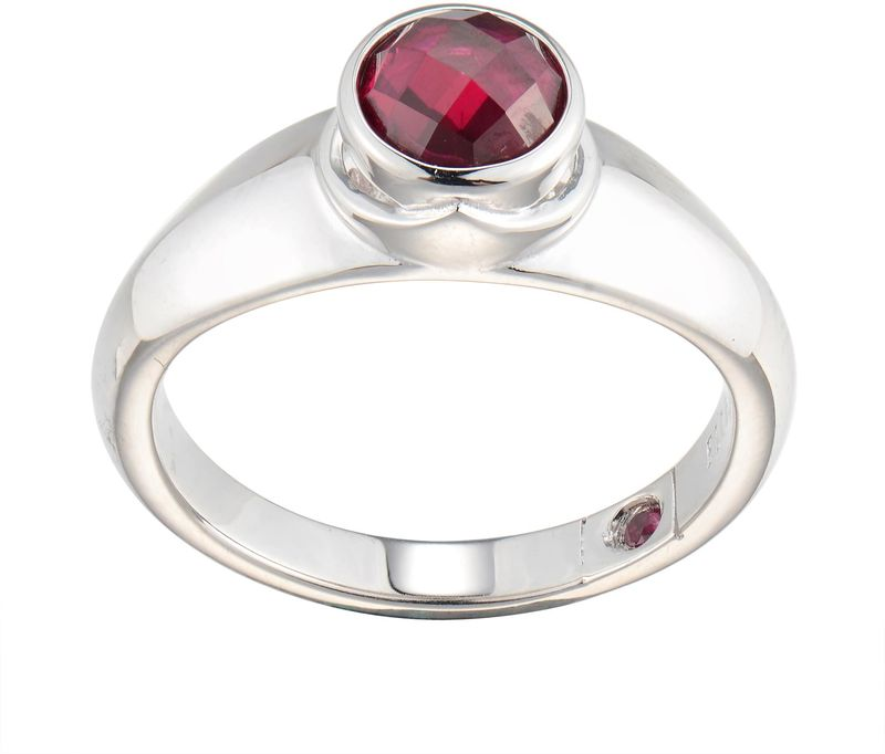 ELLE Jewelry - Silver Red Simulated Ruby Simulated July Birthstone Ring Sterling Silver