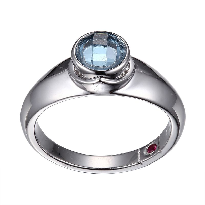 ELLE Jewelry - Silver Light Blue Simulated Aquamarine Simulated March Birthstone Ring Sterling Silver