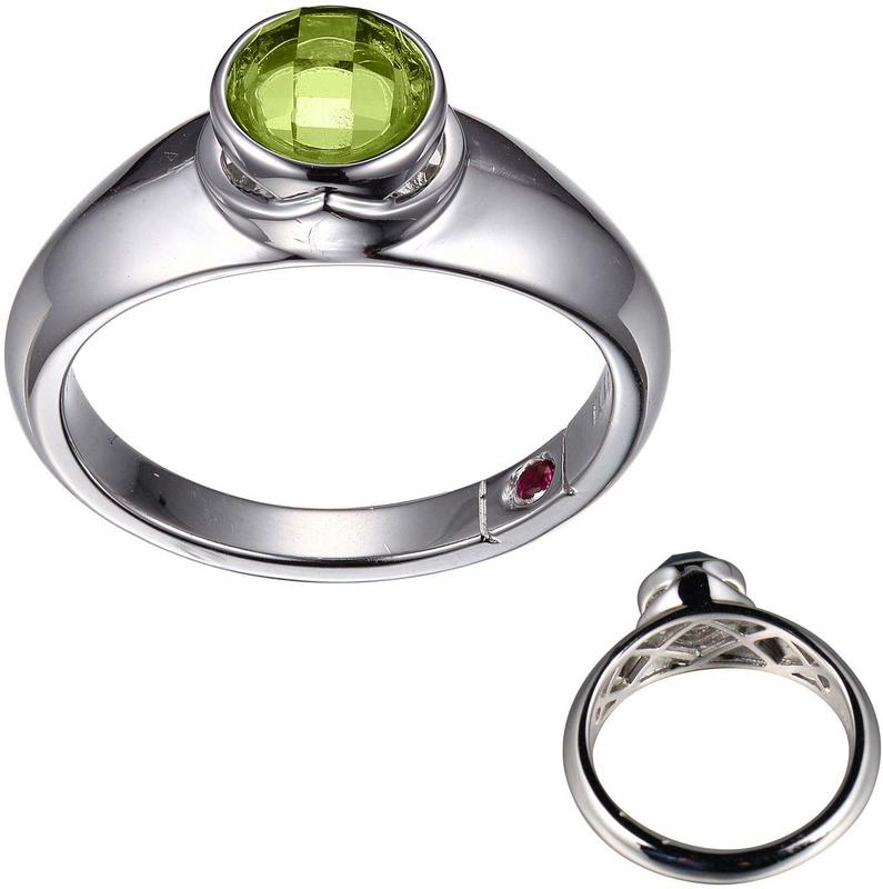 ELLE Jewelry - Silver Genuine Peridot August Birthstone Ring Sterling Silver
