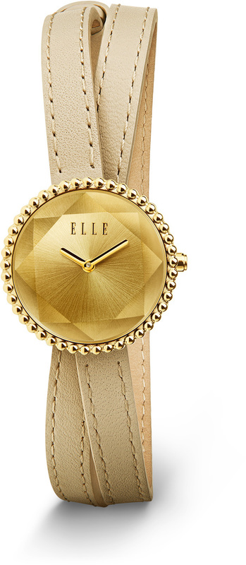 ELLE Watch - W1232 - FACET  Collection Steel Case with Champagne Dial and Tan Leather Strap (27mm Case)