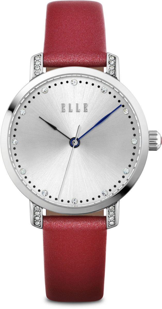 ELLE Watch - Silver-Tone Watch w/ Silver Sunray Dial & Dark Pink Leather Strap (W1556)