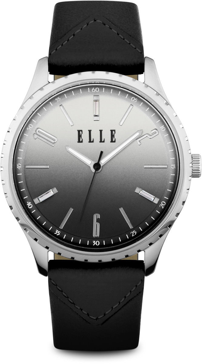 Elle watch silver tone watch w gradient dial black leather strap w1563 for Gradient dial watch