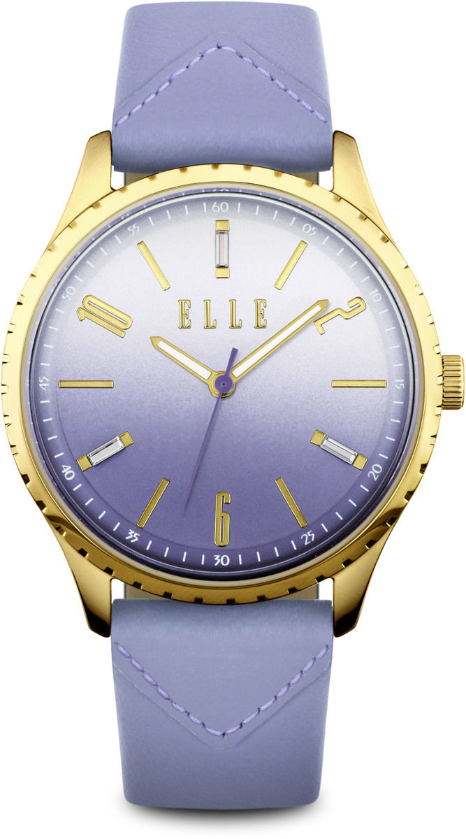 Elle watch gold plated watch w gradient dial purple leather strap w1564 for Gradient dial watch