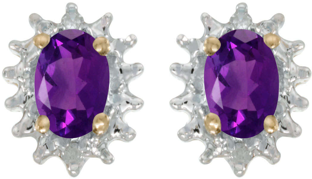 10k Yellow Gold Oval Amethyst & Diamond Earrings E1342-02