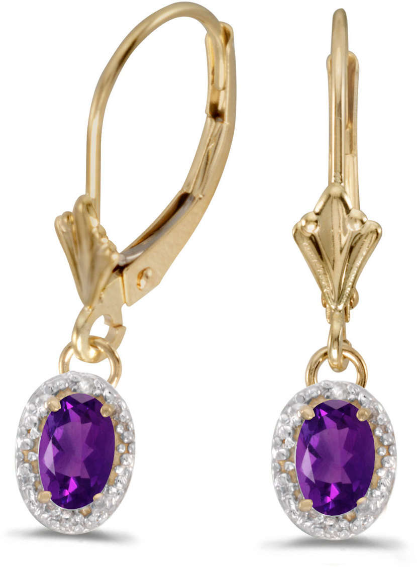 10k Yellow Gold Oval Amethyst & Diamond Leverback Earrings