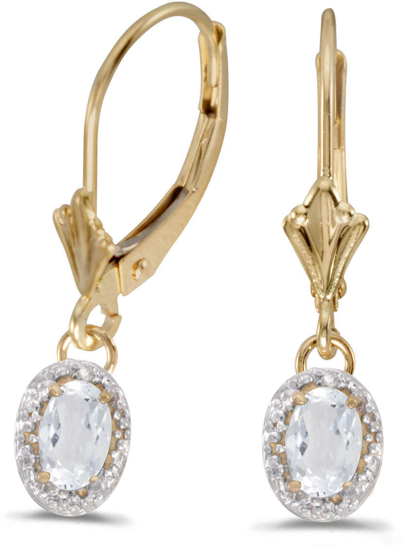 K Yellow Gold Diamond Leverback Earrings