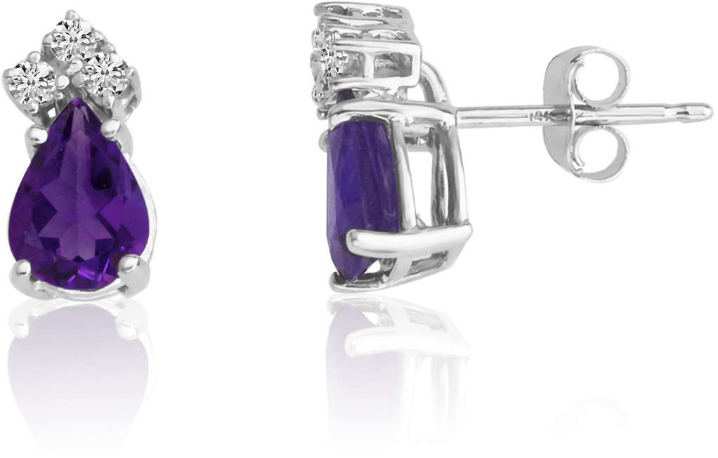 14K White Gold 7X5 Pear Amethyst & Diamond Earrings
