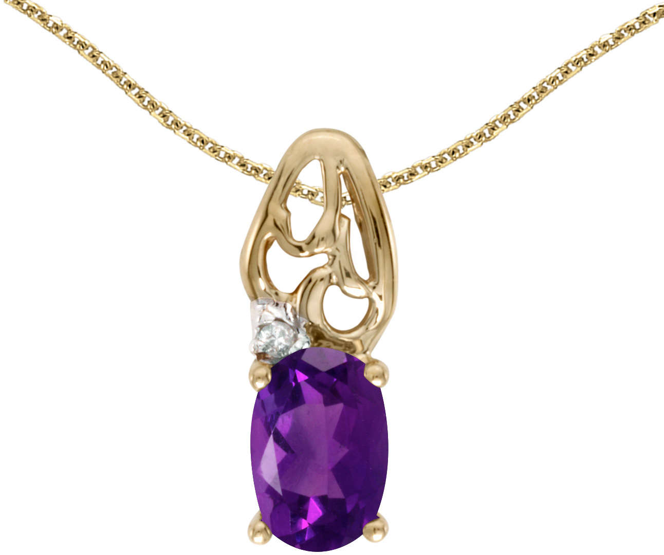 10k Yellow Gold Oval Amethyst & Diamond Pendant (Chain NOT included) P2582-02