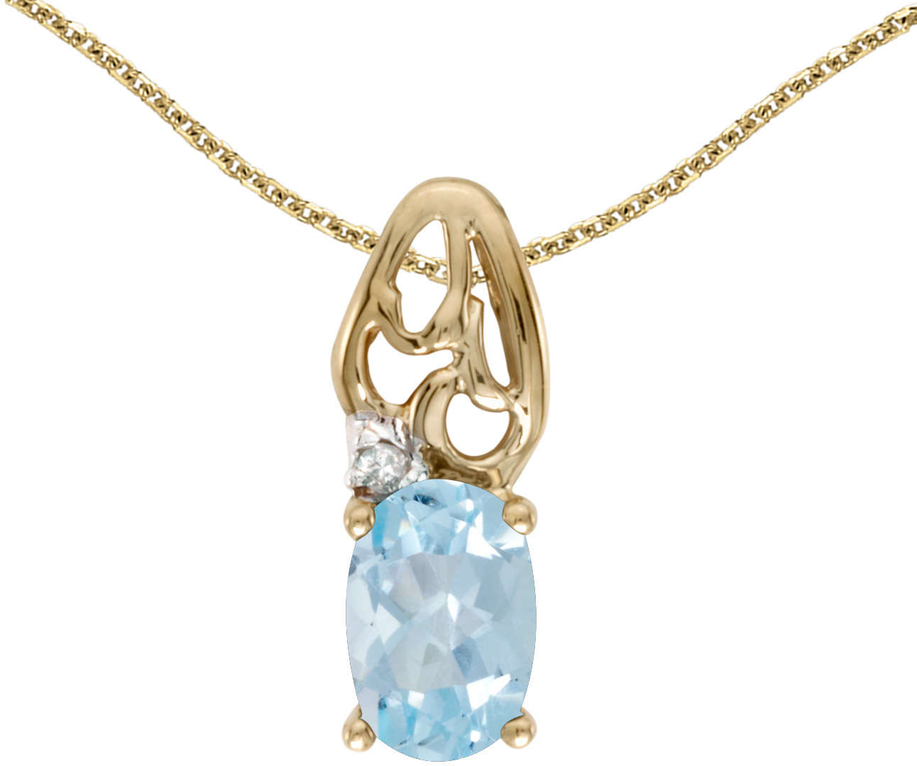10k Yellow Gold Oval Aquamarine & Diamond Pendant (Chain NOT included) P2582-03