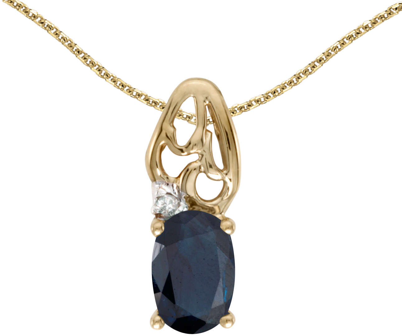 10k Yellow Gold Oval Sapphire & Diamond Pendant (Chain NOT included) P2582-09