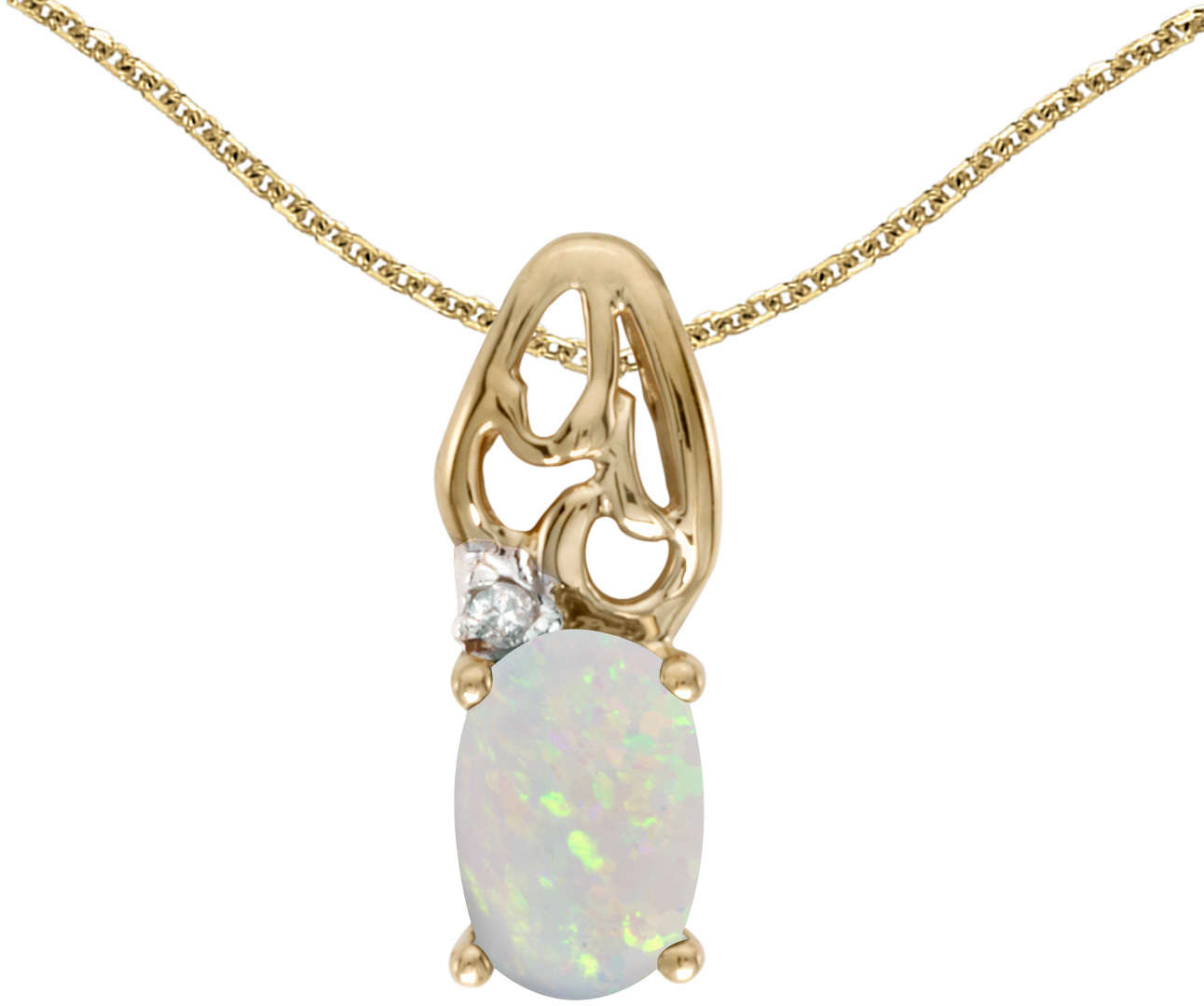 10k Yellow Gold Oval Opal & Diamond Pendant (Chain NOT included) P2582-10