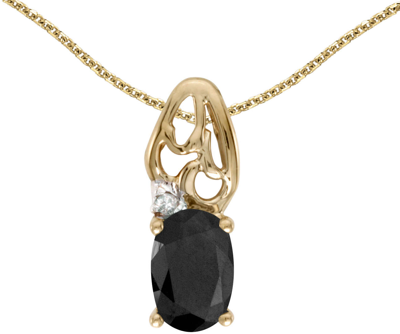 10k Yellow Gold Oval Onyx & Diamond Pendant (Chain NOT included) P2582-OX