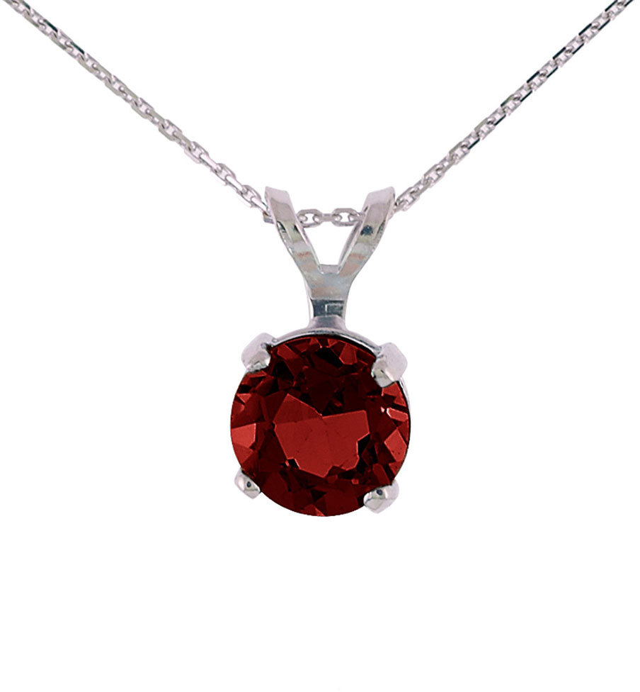 14K White Gold 6mm Round Garnet Stud Pendant (.85ctw) (Chain NOT included) P3300