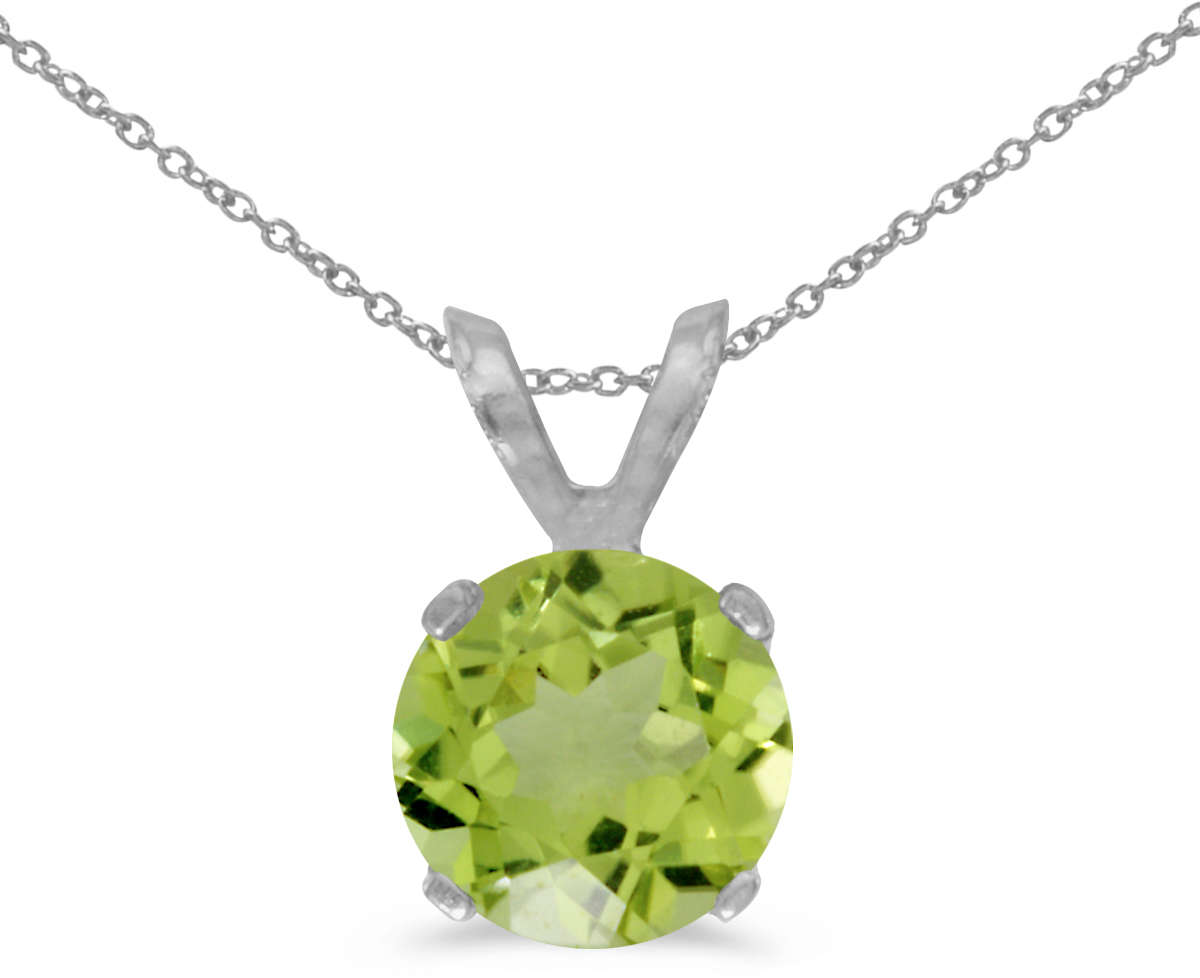 14K White Gold 6mm Round Peridot Stud Pendant (1.00ctw) (Chain NOT included)