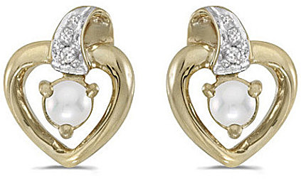 14k Yellow Gold Pearl And Diamond Heart Earrings