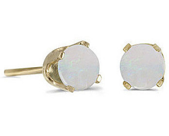 14k Yellow Gold Round Opal Stud Earrings