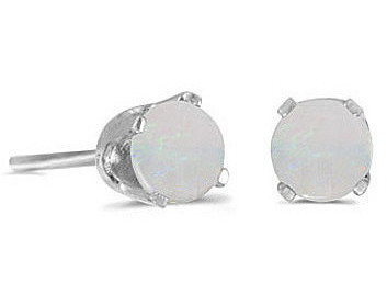 14k White Gold Round Opal Stud Earrings