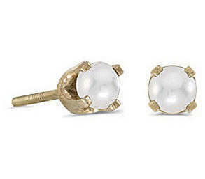 14k Yellow Gold Pearl Screw-back Stud Earrings