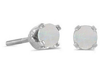 14k White Gold Round Opal Screw-back Stud Earrings