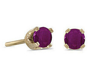 14k Yellow Gold Round Ruby Stud Earrings (CM-E1420X-07)