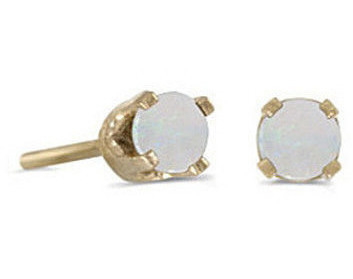 14k Yellow Gold Round Opal Stud Earrings (CM-E1420X-10)