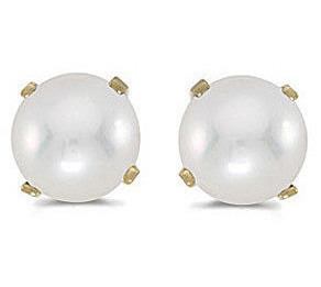 14k Yellow Gold Pearl Stud Earrings (CM-E1471X-06)