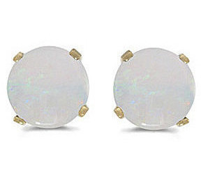 14k Yellow Gold Round Opal Stud Earrings (CM-E1471X-10)