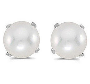 14k White Gold Pearl Stud Earrings (CM-E1471XW-06)