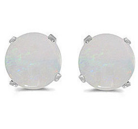 14k White Gold Round Opal Stud Earrings (CM-E1471XW-10)