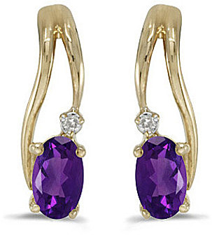 14k Yellow Gold Oval Amethyst And Diamond Wave Earrings