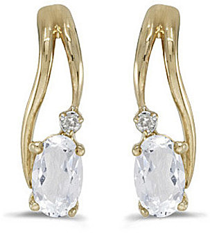 14k Yellow Gold Oval White Topaz And Diamond Wave Earrings