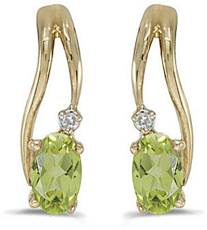 14k Yellow Gold Oval Peridot And Diamond Wave Earrings