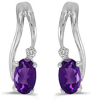 14k White Gold Oval Amethyst And Diamond Wave Earrings