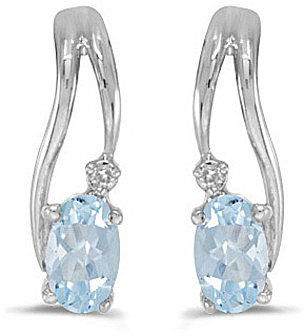 14k White Gold Oval Aquamarine And Diamond Wave Earrings