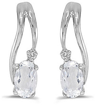 14k White Gold Oval White Topaz And Diamond Wave Earrings