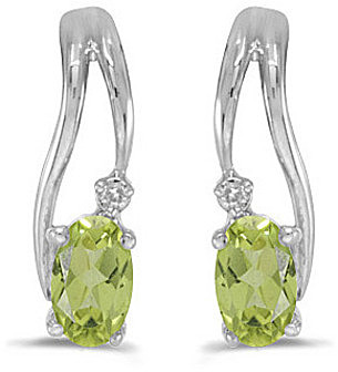 14k White Gold Oval Peridot And Diamond Wave Earrings