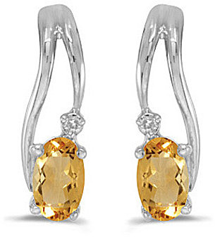14k White Gold Oval Citrine And Diamond Wave Earrings