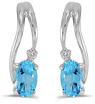 14k White Gold Oval Blue Topaz And Diamond Wave Earrings