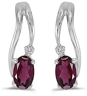 14k White Gold Oval Rhodolite Garnet And Diamond Wave Earrings