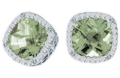"14K White Gold 7mm (2/7"") Cushion Green Amethyst and Diamond Earrings"