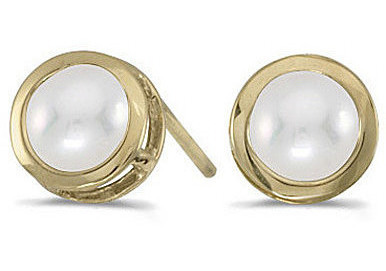 14k Yellow Gold Pearl Bezel Stud Earrings (CM-E5039X-06)