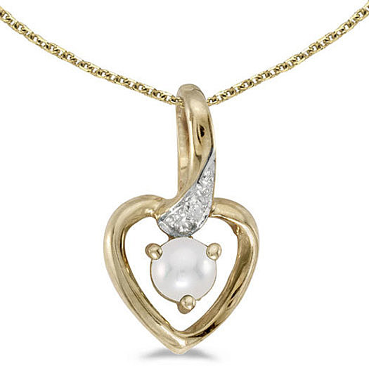 10k Yellow Gold Pearl And Diamond Heart Pendant (Chain NOT included)