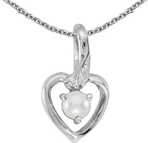 14k White Gold Pearl And Diamond Heart Pendant (Chain NOT included)