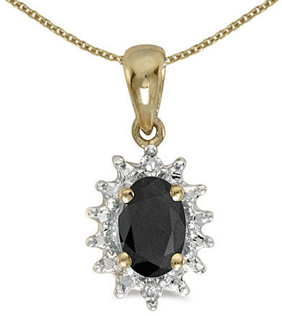 14k Yellow Gold Oval Onyx And Diamond Pendant (Chain NOT included) (CM-P1342X-OX)